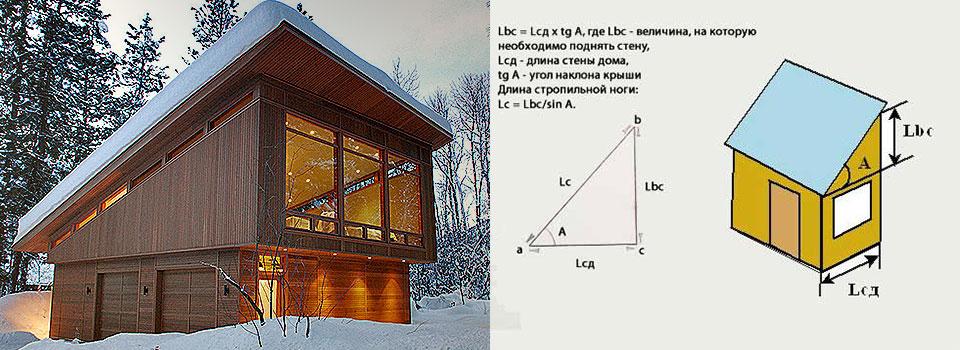 Расчет односкатной крыши онлайн. Расчёт всех основных характеристик.